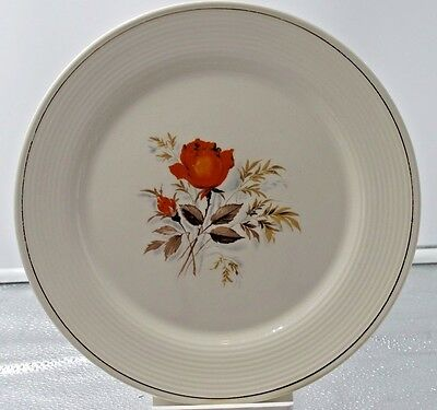 Vintage Sebring Pottery Vermillion Rose 22 Kt - 3 Pieces - Two Plates And A Bowl