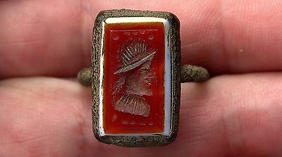 Very Old Bronze & Carved Carnelian Stone Intaglio & White Stone EMPEROR Ring