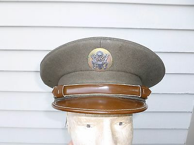 WWII US Air Corps Enlisted Visor Hat OD Serge Wool Chinstrap Large 7 3/8 WW2