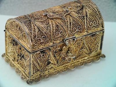 Antique  Sterling Silver Filigree Treasure Chest Box Very Ornate Hallmarked Look