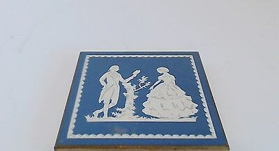 Volupte Powder Compact Blue Victorian Courting Couple Covered Well Empty Clean