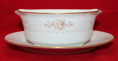 Noritake keegan Contemporary Fine China Gravy Boat Under Plate Flower 2891 Japan