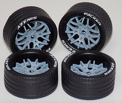 1/18 AB Forgiato Lamborghini Ferrari 4 Matt Black / Grey wheels Tire 1206