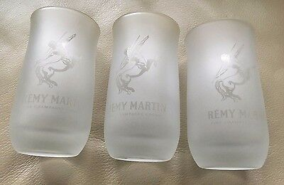 """3 Remy Martin Fine Champagne Cognac Frosted Glasses 4-1/2"""" Tall"""