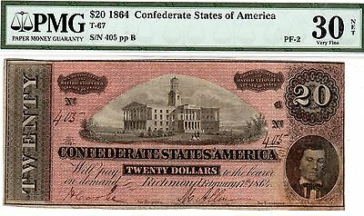 T-67 PF-2 $20 Confederate Paper Money 1864 - Double Ratification clause error!!
