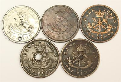 5x 1852 1854 1857 Province of Canada One Penny Tokens Upper Canada damaged