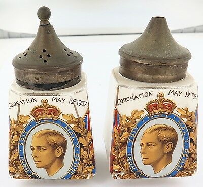 1937 Pair King George Vi Coronation Commemorative Salt & Pepper Shakers.