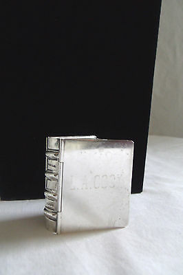 TIFFANY & CO. Engraved Vintage Sterling Silver Hardcover BOOK Shaped Pill Box
