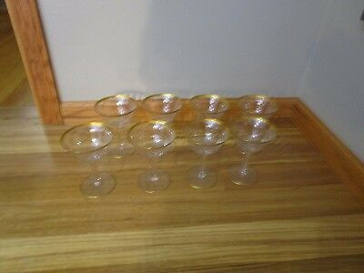 8 Vintage Wine Goblets Double Gold Band and Panel Bowl