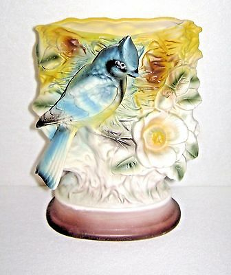 Vintage 1960's Bisque Porcelain Vase Blue Jay at Nest by Holmar Japan