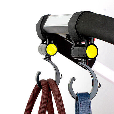 Holder Baby Pram Stroller Hanger Pushchair Swivel Hooks Carriage Storage Bags