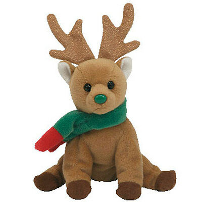 TY Jingle Beanie Baby - JINGLY the Reindeer (4 inch) - MWMTs Ornament Holiday
