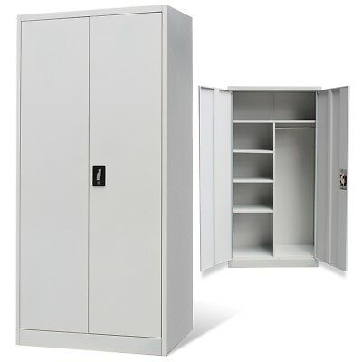 Steel Metal Storage Stationary Filing Locker Cabinet Grey 2 Door Office School