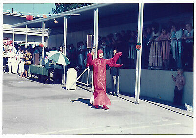 Vintage 80s PHOTO Woman In Lobster? Halloween Costume In Office Parade