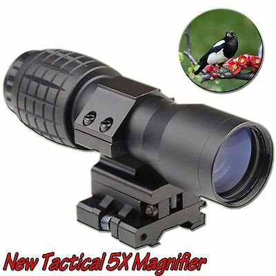 Black Tactical 5X Magnifier FTS Flip To Side For Eotech Aimopint Similar Scopes