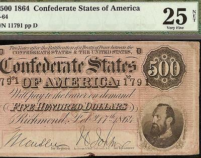 1864 $500 Dollar Bill Confederate States Note Civil War Paper Money T-64 Pmg 25