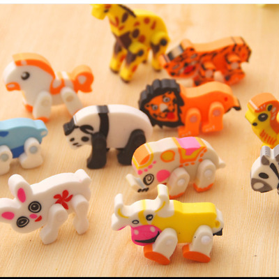 10PCS/lot Removable Cute Animal Eraser Rubber Pencil Stationery Child Gift Toy