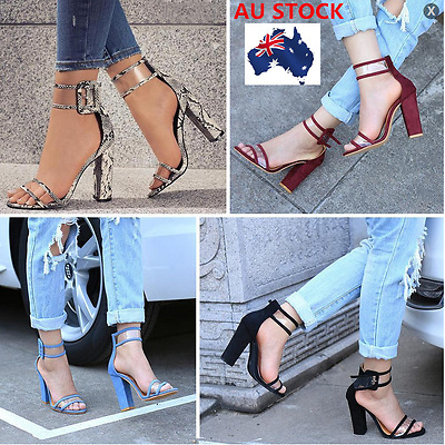 Women High Chunky Block Heels Ankle Strappy Sandals Open Peep Toe Summer Shoes