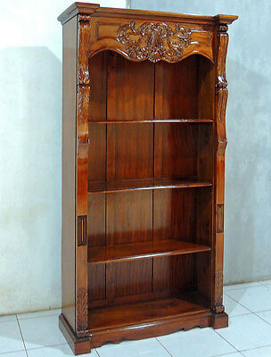 MAHAGONI BÜCHERREGAL, heavy carved COLONIAL BOOKCASE, REGALMÖBEL, BÜCHERSCHRANK