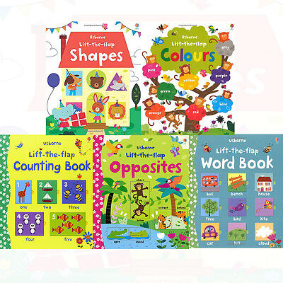 Usborne Lift the Flap Collection 5 Books Set Opposites Counting Book New Pack