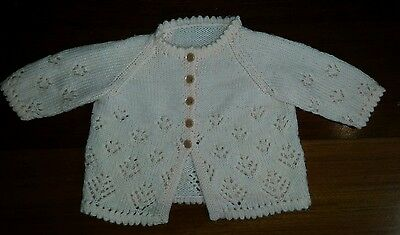 Baby Girl Peach hand knitted Jumper / Cardigan - Size 000