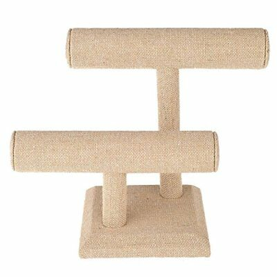 Burlap Two Tier T-Bar Necklace, Bracelet, Bangle Jewelry Display Stand New