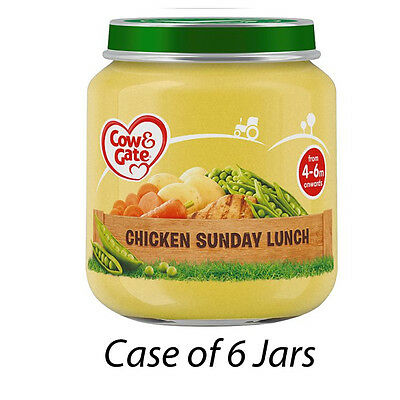 COW & GATE CHICKEN SUNDAY LUNCH 4-6m ONWARDS BABY FOOD 6 SEALED JARS 125g 210189