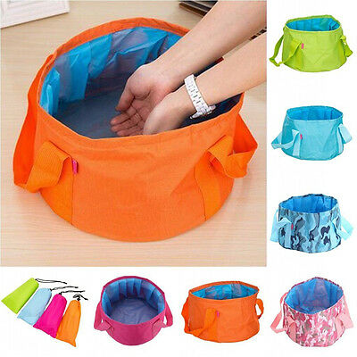 Portable 15L Washbasin Bucket Foldable Outdoor Camping Water Pot Bag Bowl Holder