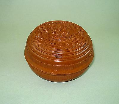 Old Ornate Round Candy Brown Bakelite Box 1940s