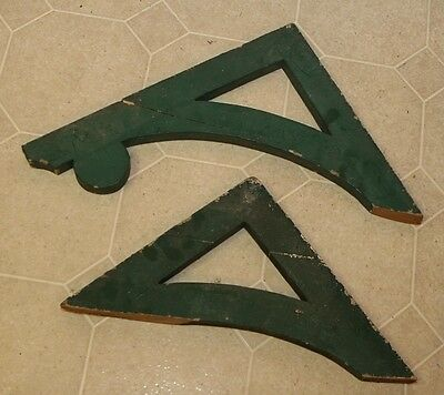 2 Antique Architectural Primitive Painted Wood Corbels Brackets As Is