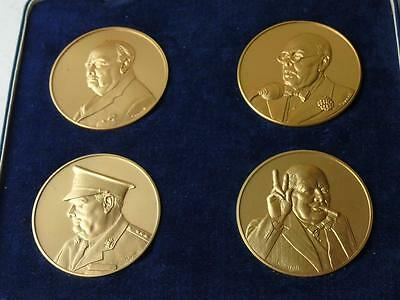 Pinches Cased Set Winston Churchill Medals 24 Carat Gold on Sterling Silver 45mm