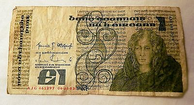 Central Bank Of Ireland £1 Pound Note 1983