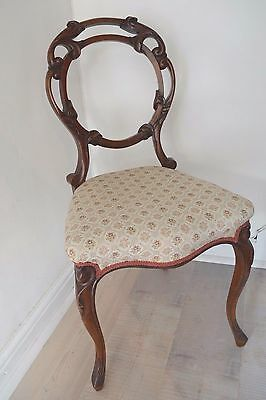Victorian Ornate Carved Mahogany Balloon Back Chairs x4