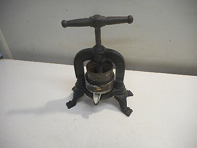 L1220 Vintage French Cast Iron Fruit Press Embossed Lions Heads-Lion Paws Feet