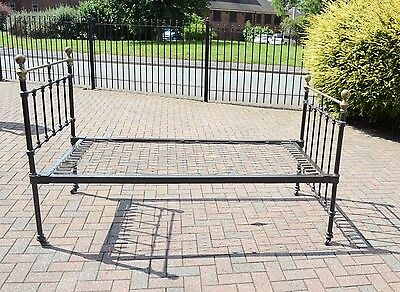 Victorian Iron and Brass Single Bed with Original Sprung Base.
