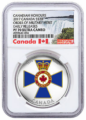 2017 Canada Honors Order Military Merit 1 oz Silver $20 NGC PF70 UC ER SKU48198