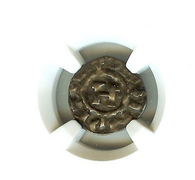 Henry Iii-V 1035-1125 A.d. Silver Denier Ngc Genuine Coins Of The Crusades