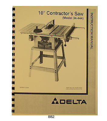 "Delta 10"" Table Saw Model 34-444 Operator & Parts List Manual #882"