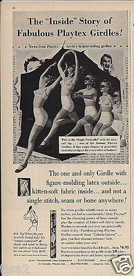 1954 PLAYTEX GIRDLE Blindfolded LADY Tests Out Stretch Vintage LINGERIE print Ad