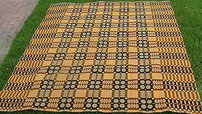 """1930s coverlet revival wool Overshot double weave coverlet, 86"""" x 74"""" *"""