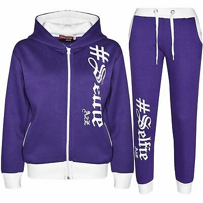 Kids Tracksuit Boys Girls Designer's #Selfie Top Bottom Jogging Suit Age 7-13 Yr