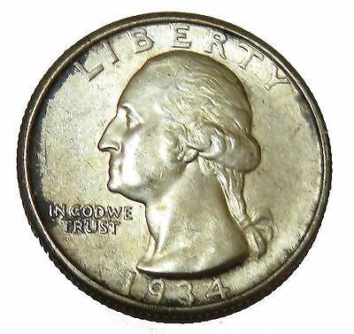 Usa America 1/4 Quarter Dollar 1934 George Washington Vz+ Erhaltung !!