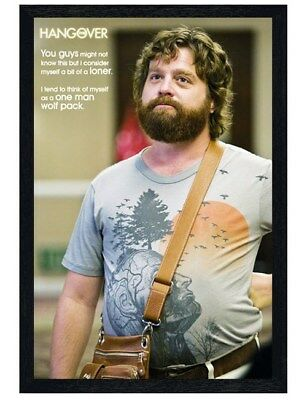 The Hangover Black Wooden Framed A One Man Wolf Pack Maxi Poster 61x91.5cm