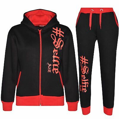 Boys Girls Jogging Suit Kids Designer's #Selfie Top & Bottom Tracksuit 7-13 Year