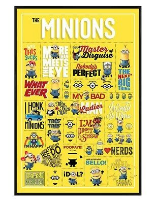 Despicable Me Gloss Black Framed Minions Infographic Maxi Poster 61x91.5cm
