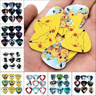 0.46mm/0.71mm/1mm Cartoon Acoustic Electric Guitar Picks Plectrums Choose 10Pcs