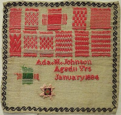 Small Late 19Th Century Darning Patch Sampler By Ada H Johnson Age 11 - 1884