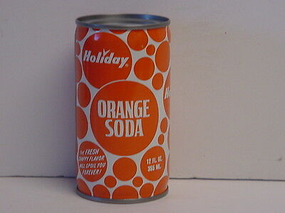 Vintage Holiday Orange Crimped Steel Flat Top Bottom Opened Soda Can