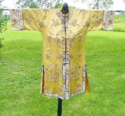 Antique Vintage Chinese Embroidered Yellow Silk Jacket Floral Forbidden Stitch