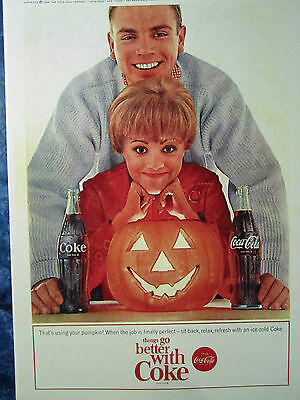 "Vintage Coca Cola 1964 HALLOWEEN Ad Store Color Sign ""THATS USING YOUR PUMPKIN"""